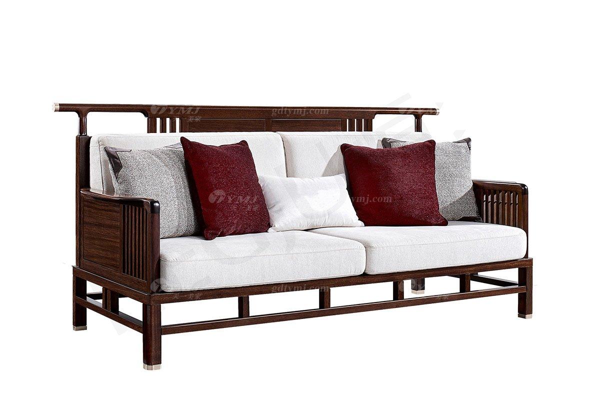 轻奢新中式高档别墅豪宅会所万博手机网页品牌客厅万博手机网页实木客厅沙发组合三位沙发