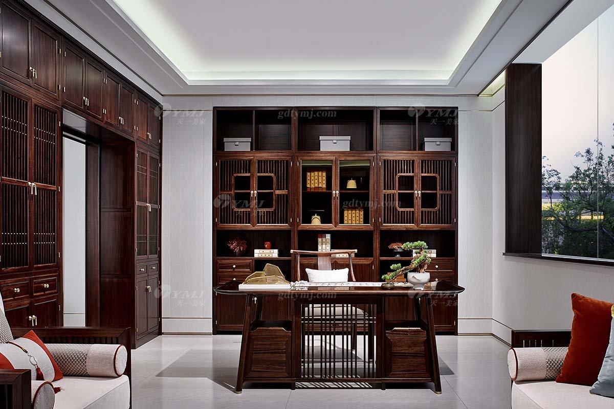 轻奢新中式高档别墅豪宅会所家具品牌书房家具实木书房书柜书桌椅组合