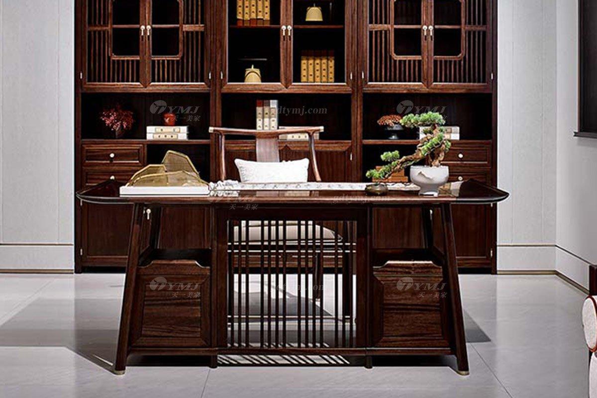 轻奢新中式高档别墅豪宅会所家具品牌书房家具实木书房书柜书桌椅组合书桌