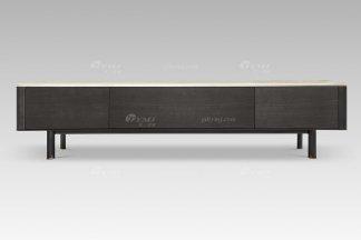 现代轻奢高端别墅家具品牌灰橡色+高级石面电视柜
