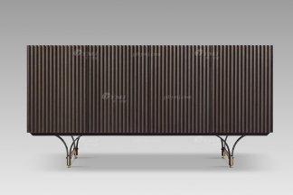 现代轻奢高端会所家具品牌灰橡色+意大利金装饰柜