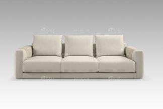 现代轻奢高端别墅豪华品牌家具米色真皮三位沙发