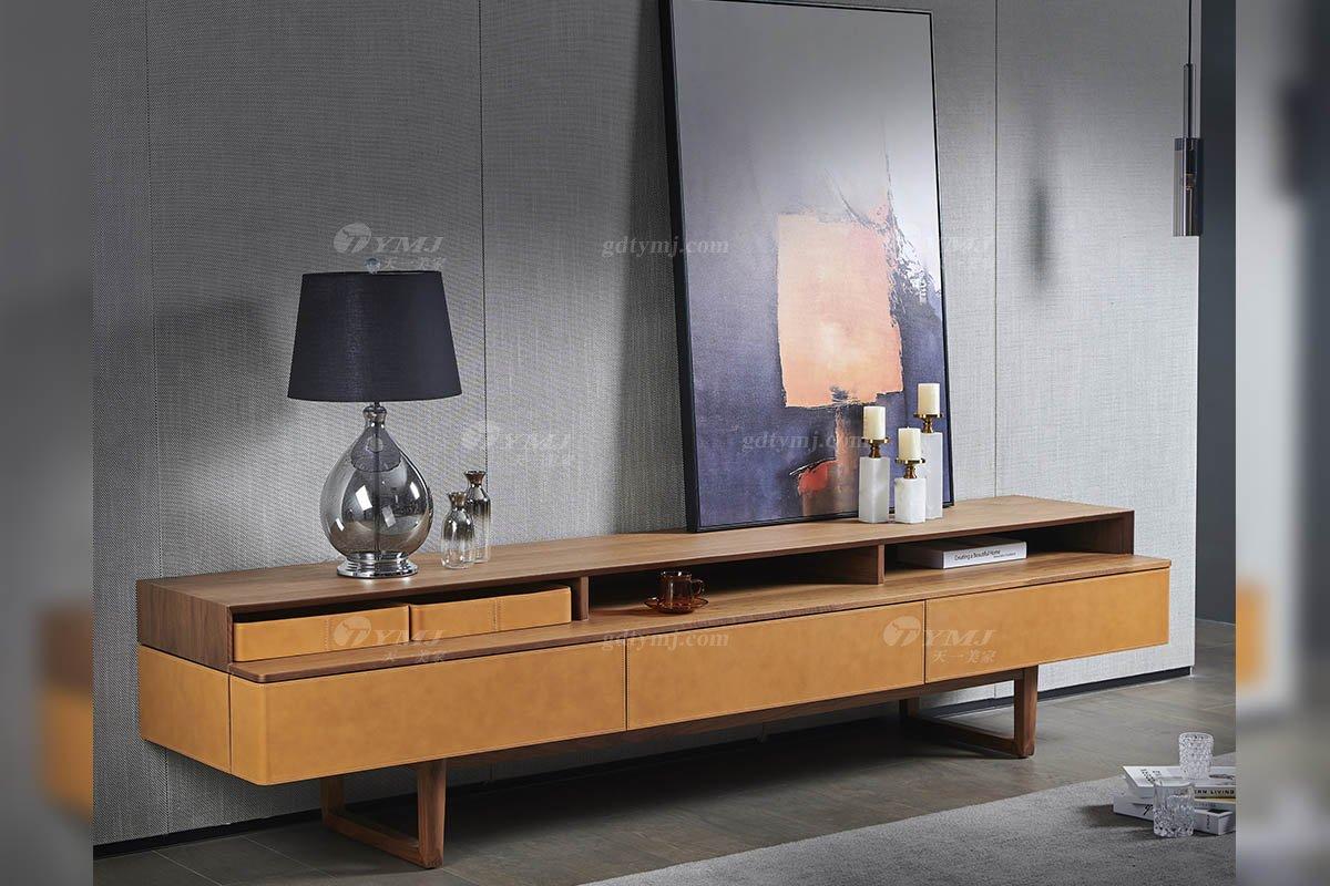 现代时尚轻奢家具品牌客厅马鞍皮艺+北美黑胡桃实木电视柜DF-06电视柜