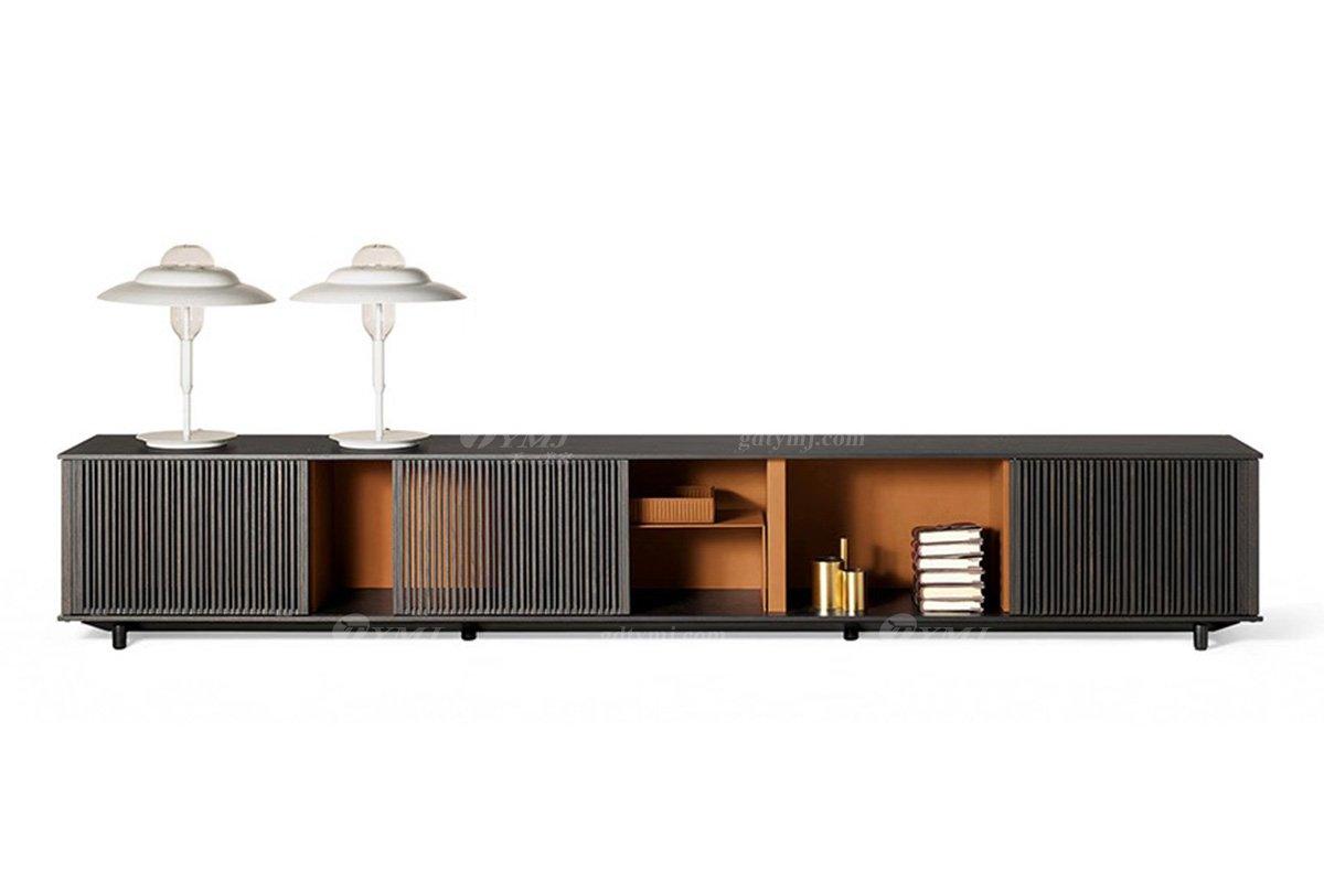 时尚轻奢家具品牌别墅家具客厅皮艺+进口白蜡木实木电视柜