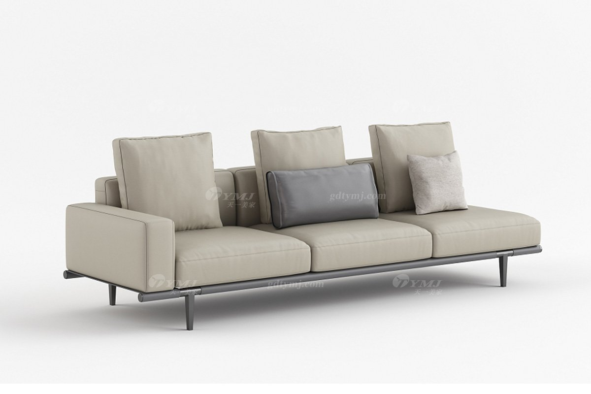 现代时尚轻奢家具品牌别墅家具客厅米色真皮单扶手四人位沙发