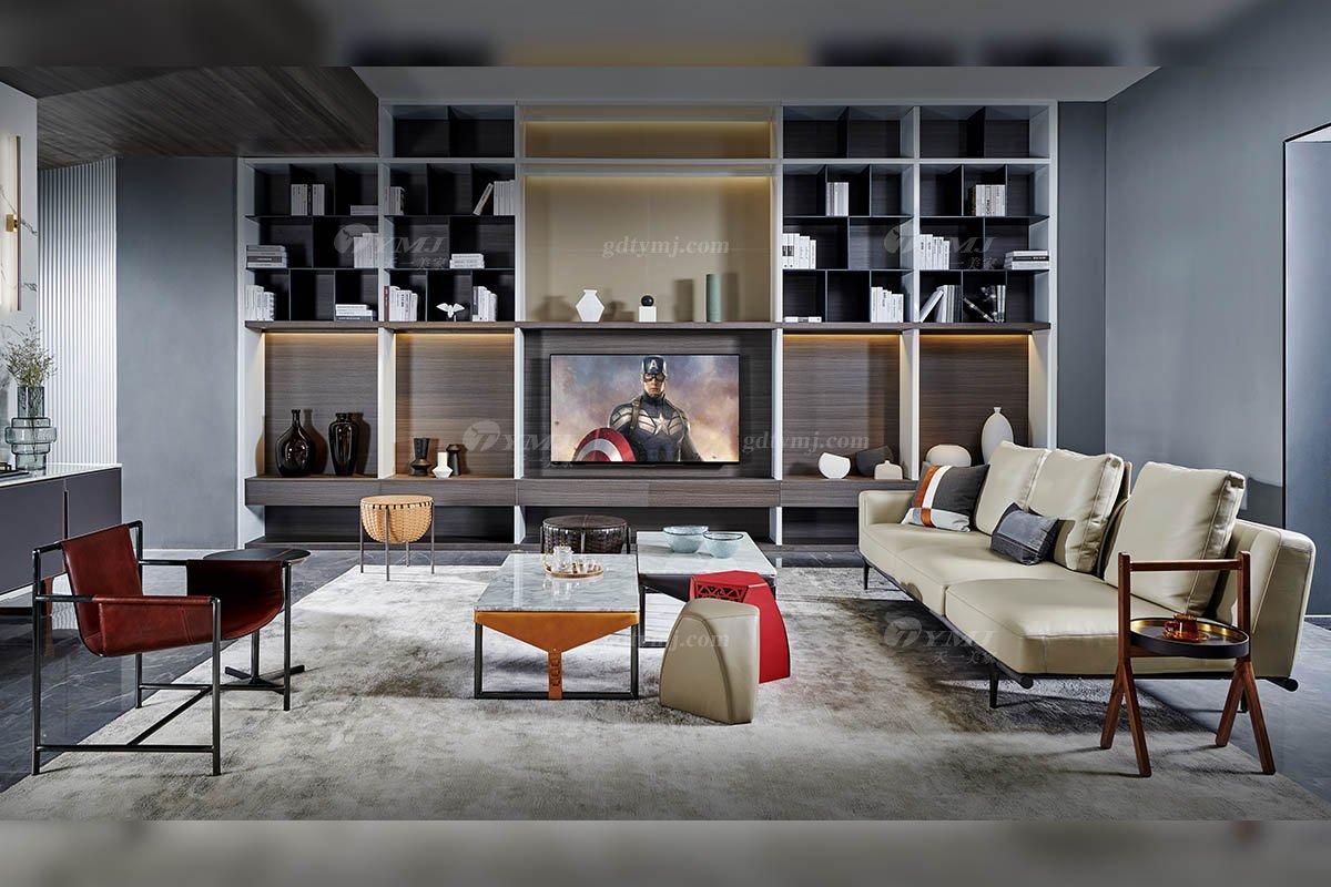 现代时尚轻奢家具品牌别墅家具客厅米色真皮单扶手四人位沙发SF-01-04A四人位单扶手沙发场景