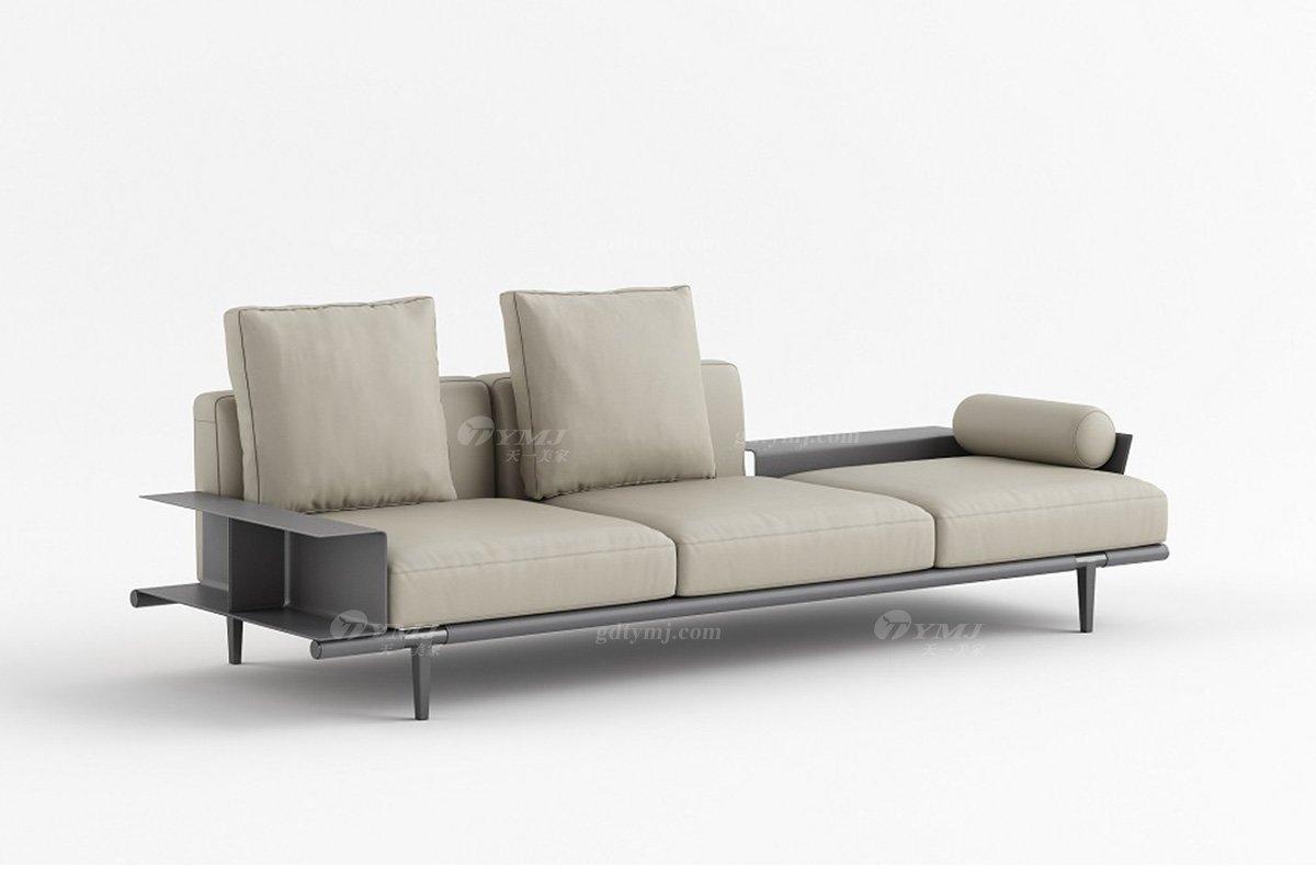 现代时尚轻奢家具别墅品牌客厅米色真皮软包贵妃位沙发
