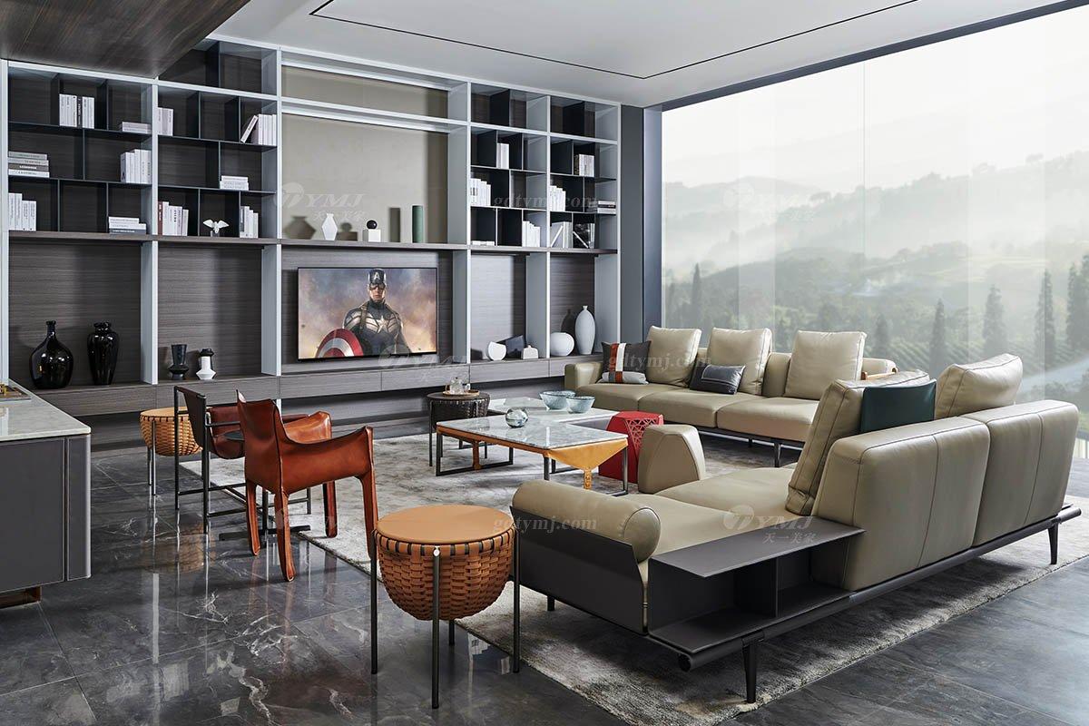现代时尚轻奢家具别墅品牌客厅米色真皮软包贵妃位沙发SF-01-04B贵妃位沙发场景