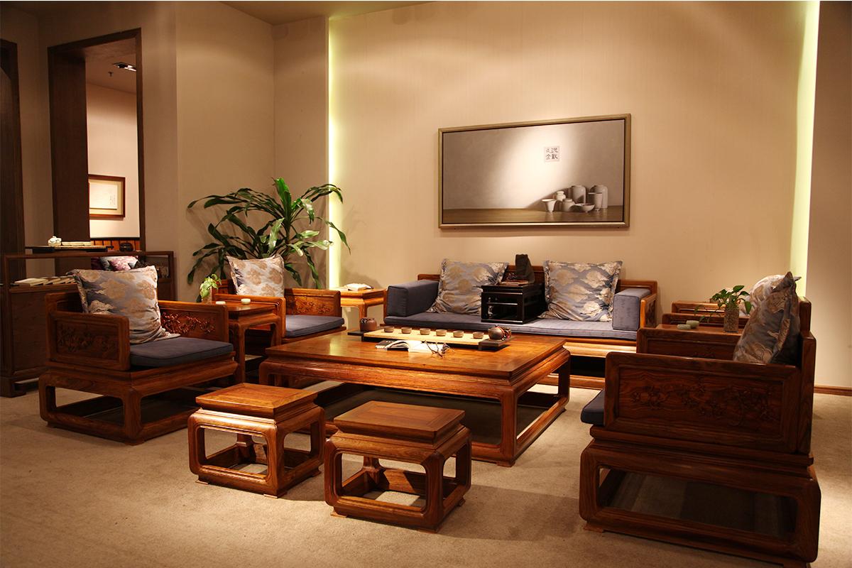 高档实木布艺客厅沙发