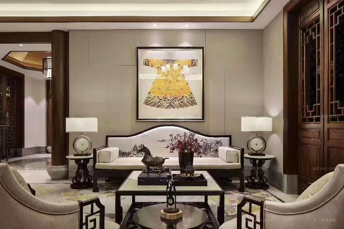 天一美家轻奢新中式客厅沙发图片