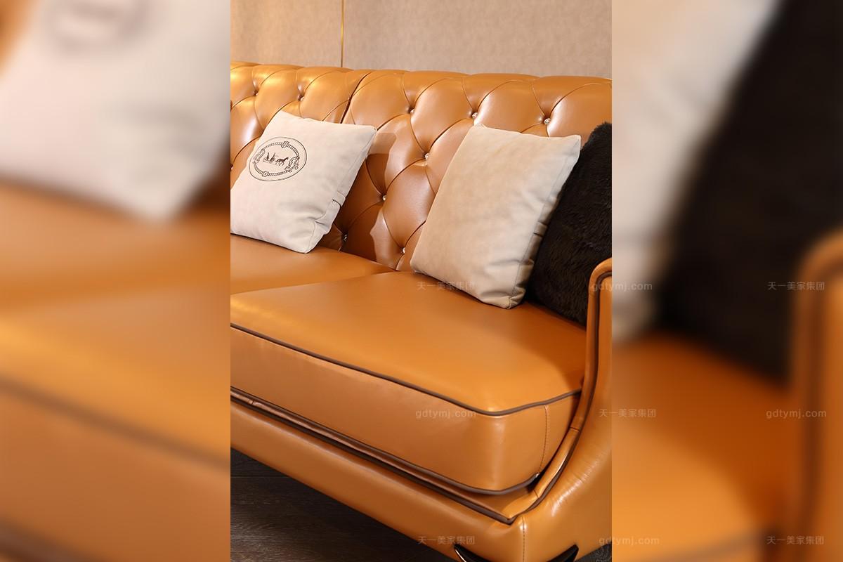 轻奢后现代爱马仕橙真皮三位沙发