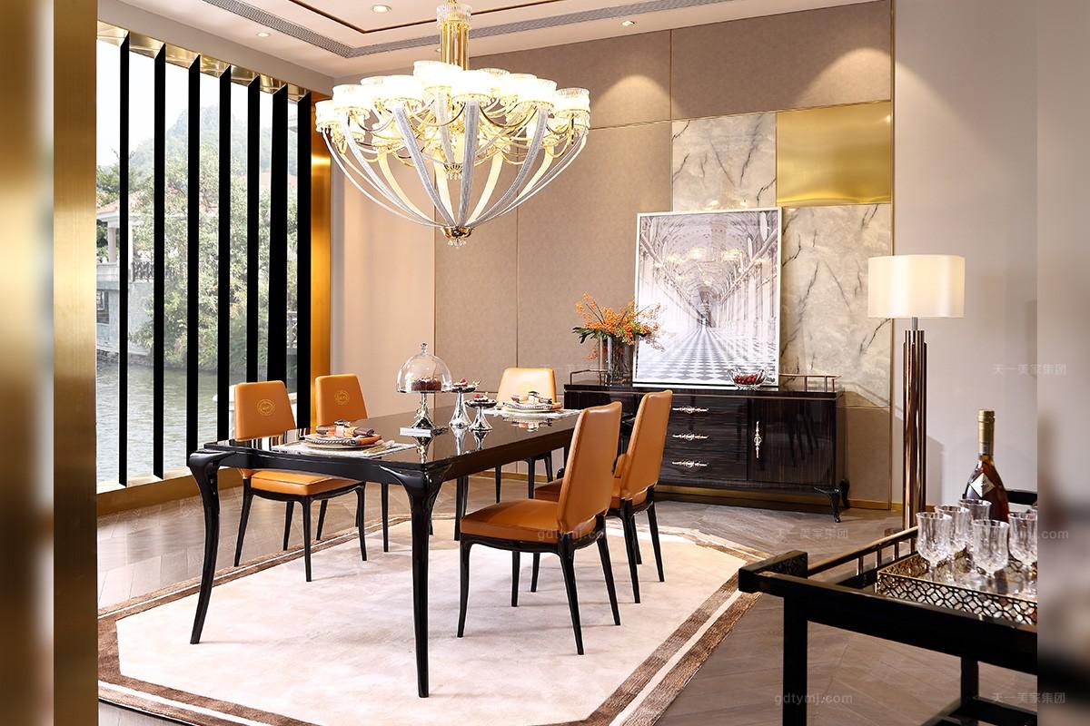 后现代轻奢家具实木餐桌爱马仕橙真皮餐椅组合