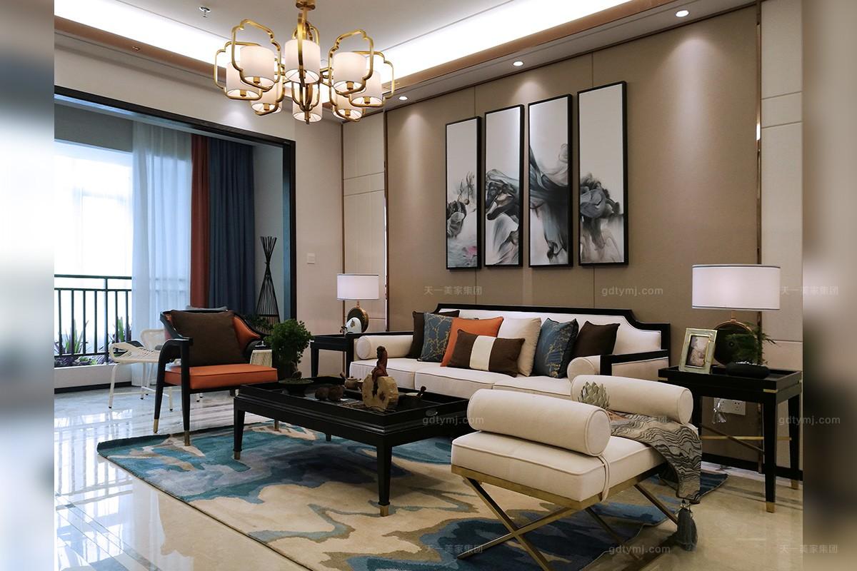天一美家新中式轻奢客厅沙发图片