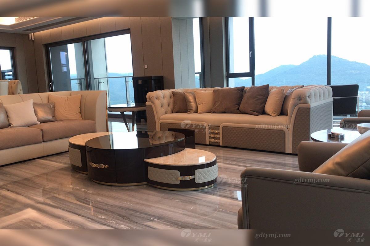 客户实景意式轻奢客厅沙发组合