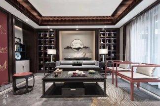 上海保亿风景水岸别墅样板间--新中式轻奢家具及软装工程整体案例赏析!