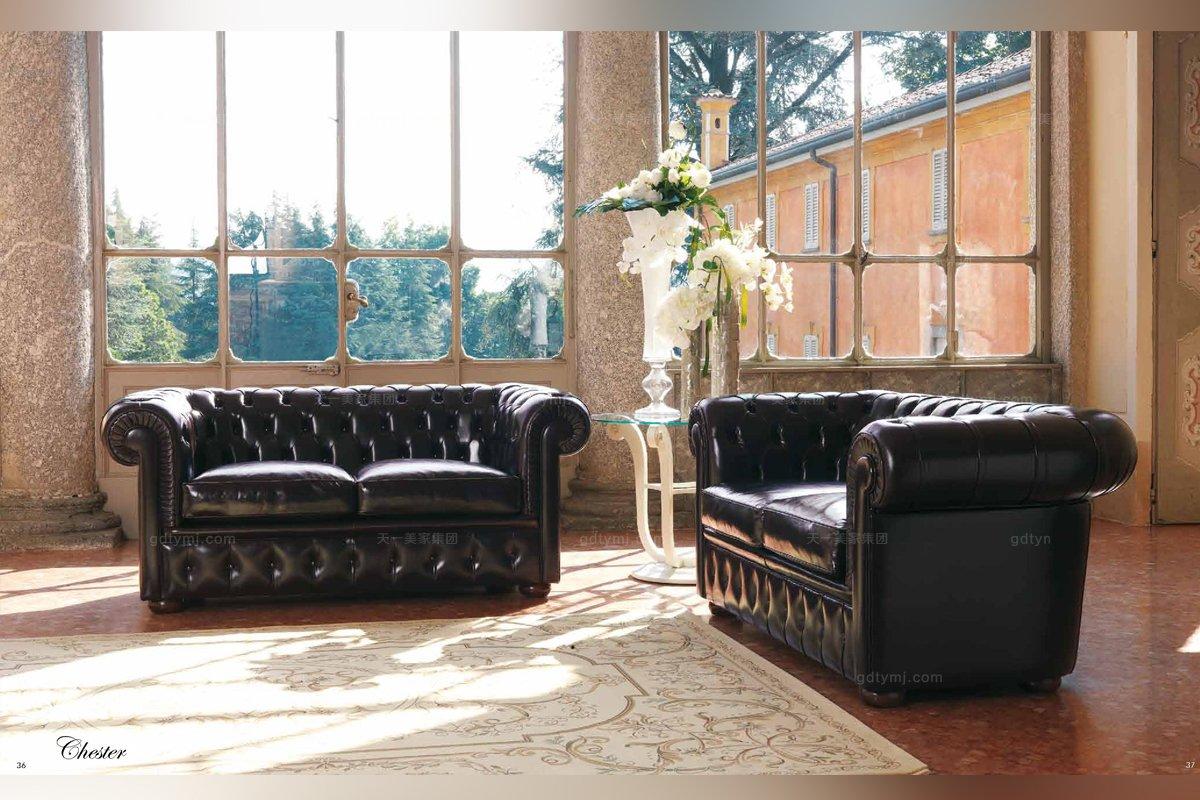 欧式真皮沙发组合意大利