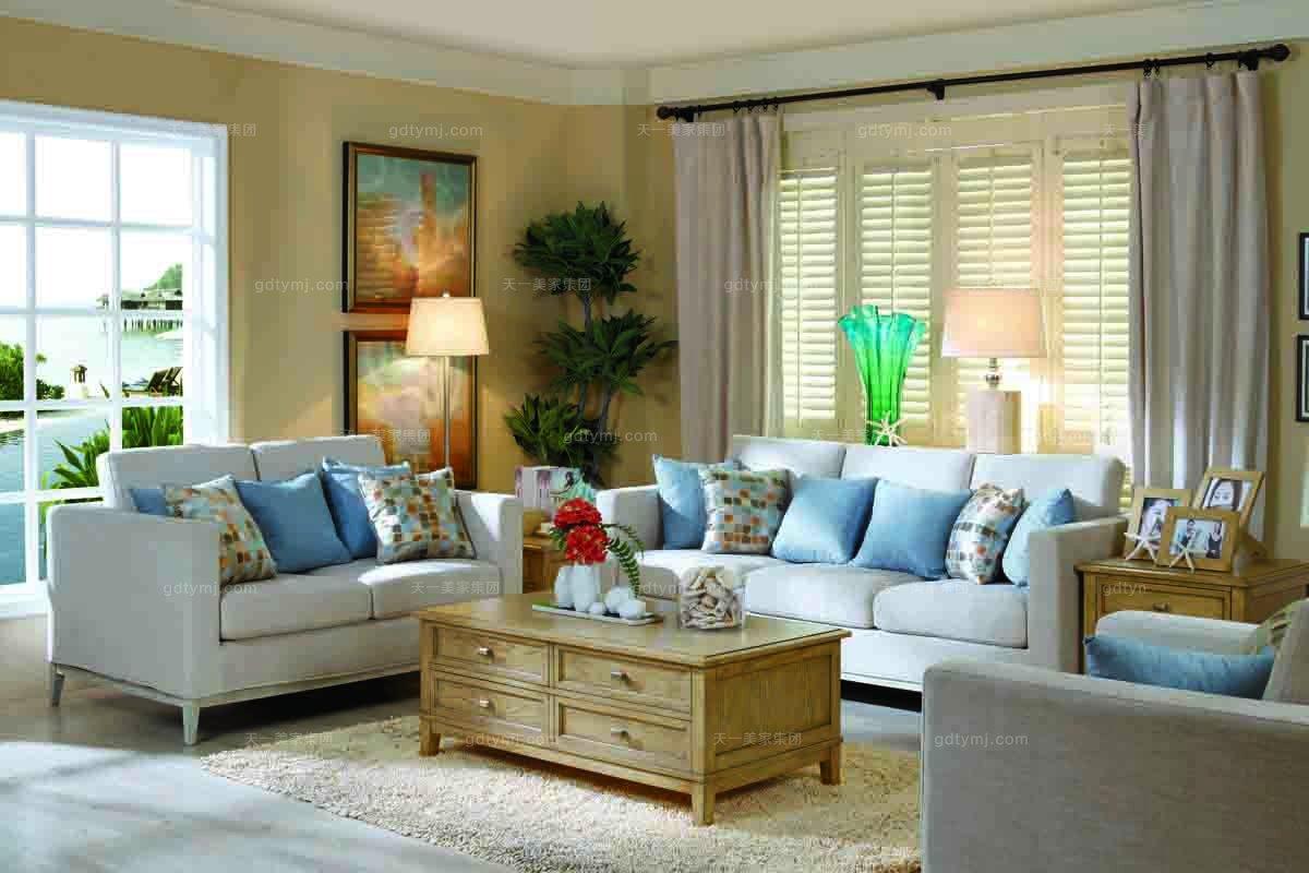 美式别墅布艺三位沙发