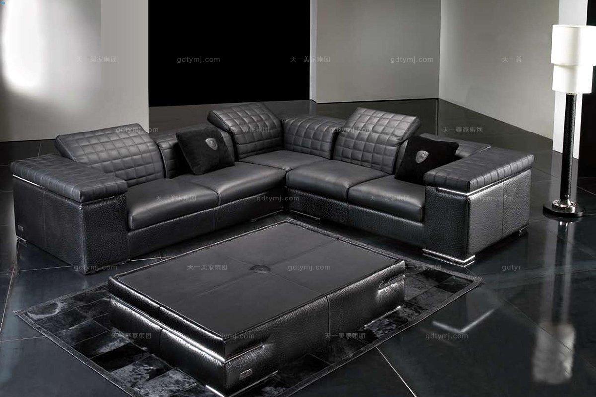 意大利黑色真皮沙发